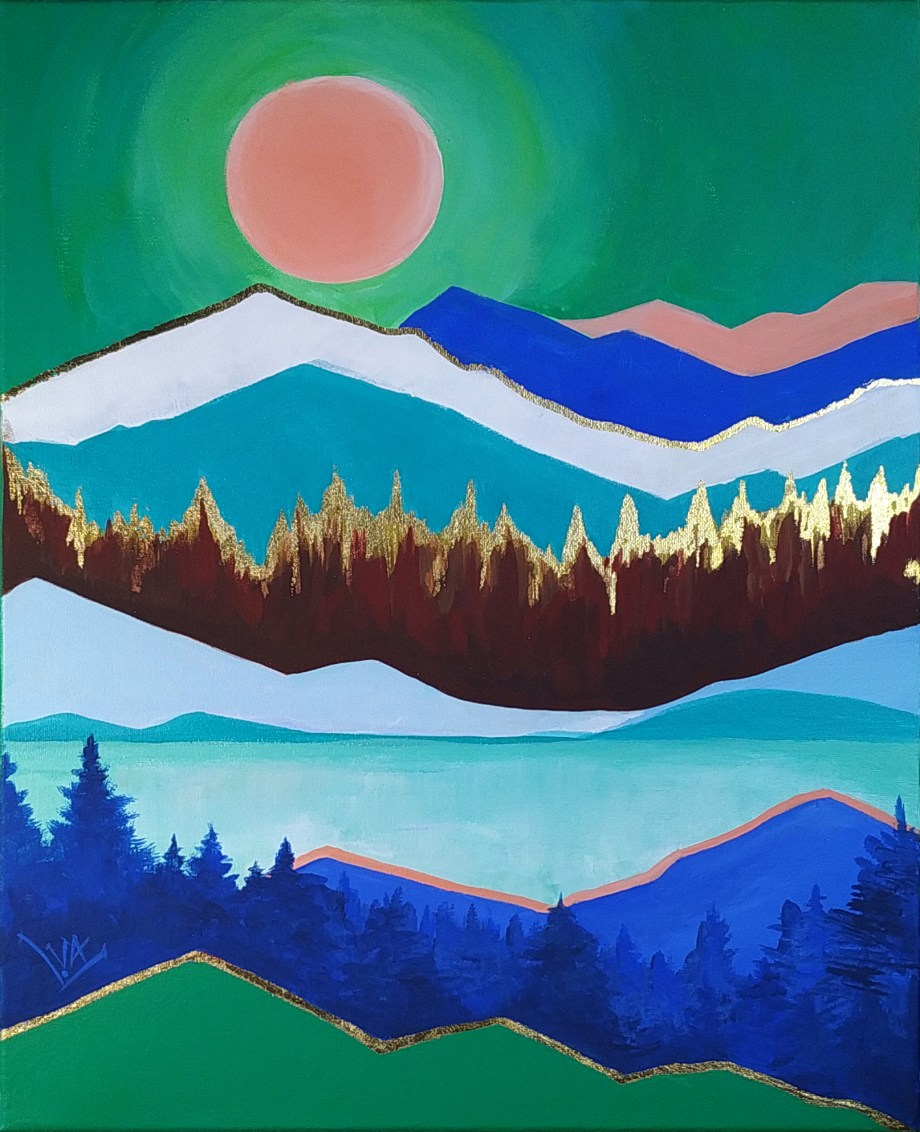 Mountains and Thousands of Suns #01 | Acrylic paint on Canvas | 16 in x 20 in