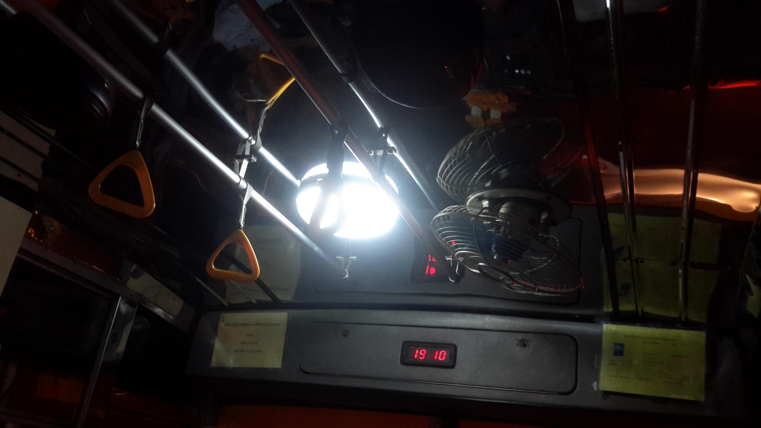 Retro bus at night