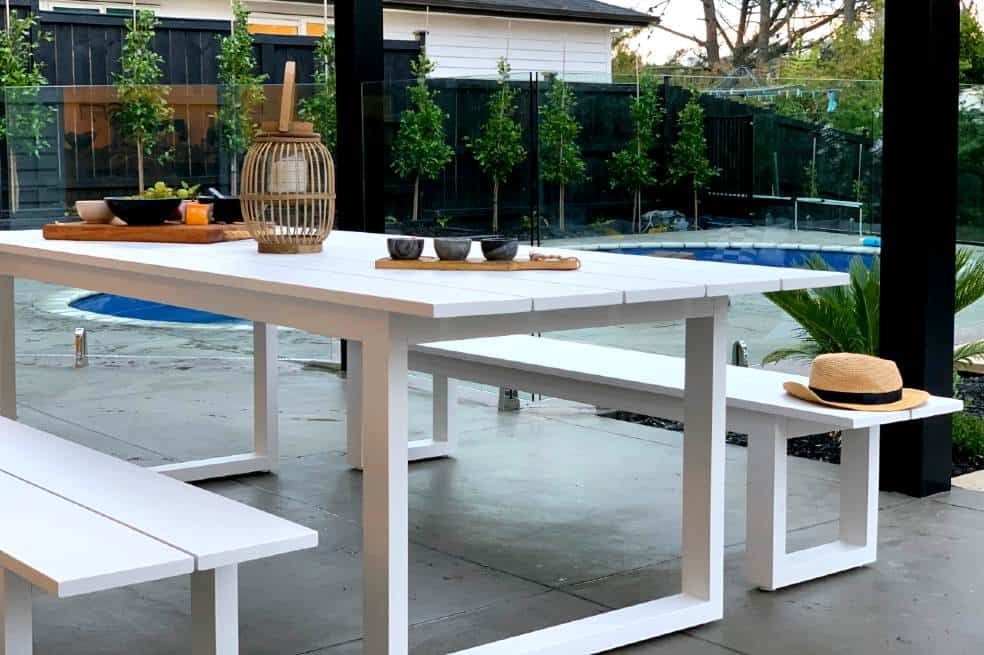 the long lunch range 8 seater outdoor dining table 2 4m 2 bench seats white