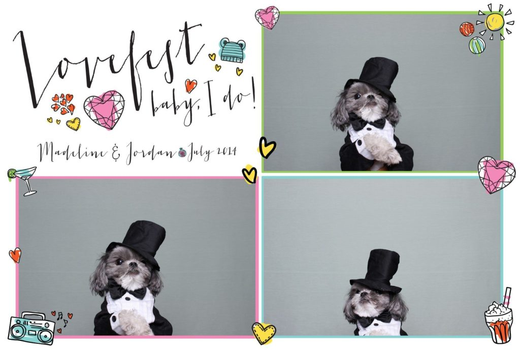 Lovefest Wedding Photo Booth by OutSnapped with dog