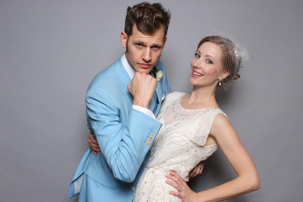 OutSnapped wedding photo booth with fashion grey backdrop