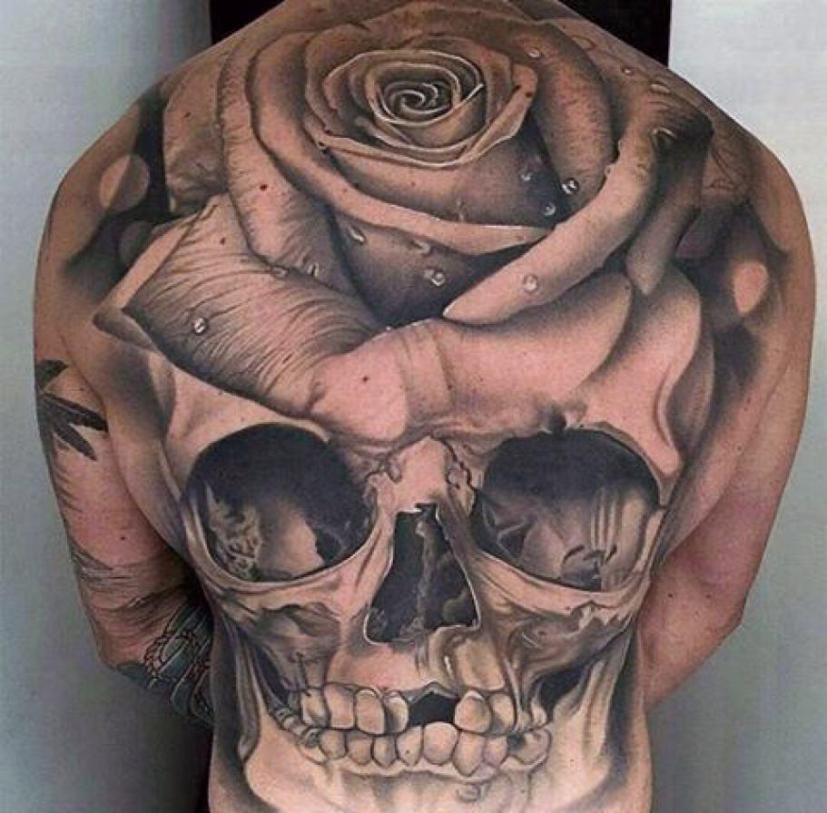 Amazing Rose Headed Skull Tattoo