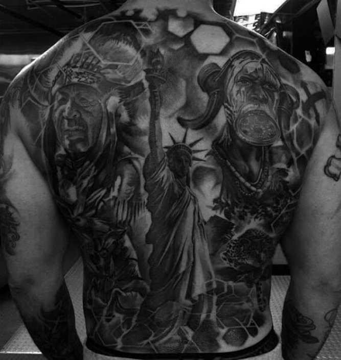 Statue Of Liberty & Warrior Tattoo
