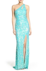 Mac Duggal Sequin Cutout One-Shoulder Gown Buy Here