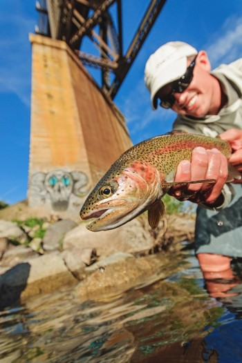 Sean Visintainer holding a redband trout that he caught on his fly line in the Spokane River.