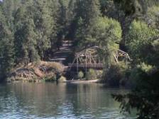 Bridge at the confluence of Deep Creek and the Spokane River.