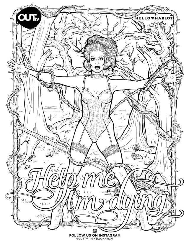 OUTtv x Hello Harlot - Drag Royalty Colouring Pages - OUTtv