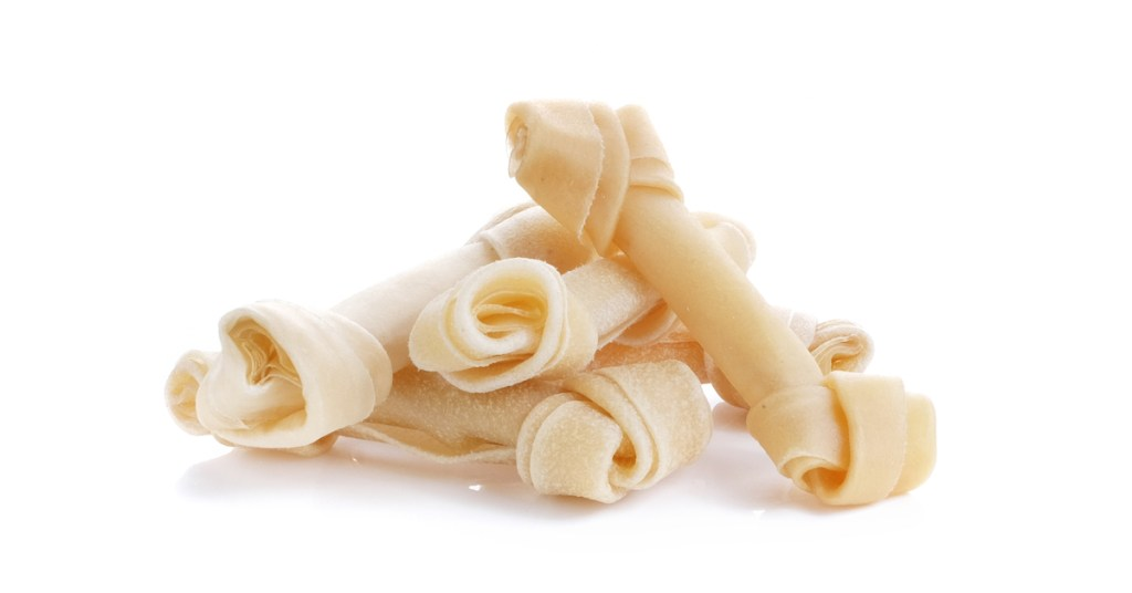 a stack of rawhide dog chews
