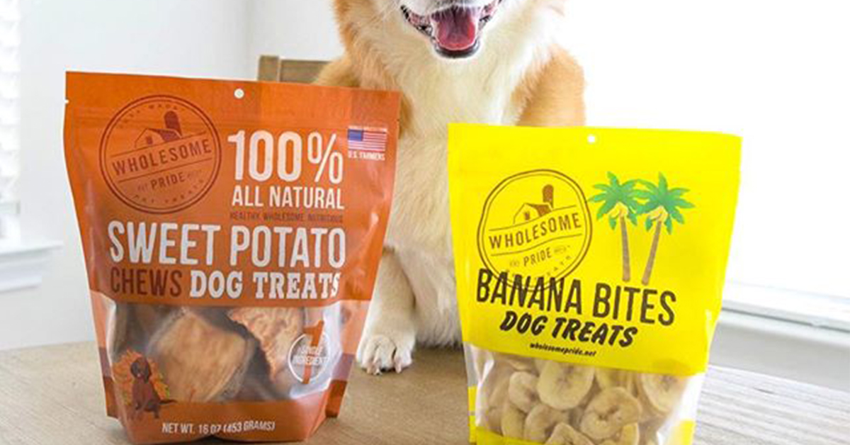 Wholesome Pride Sweet Potato and Banana treats are essential for a road trip with a dog