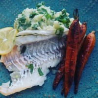 Wine and Garlic Poached Cod with Irish Colcannon