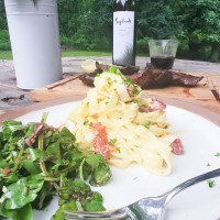 Lemon Chive Carbonara with Watercress Salad