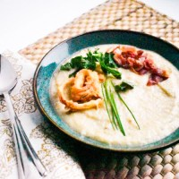 Roasted Parsnip Soup with Crispy Fried Shallots