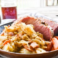 Oven Roasted Corned Beef with Cabbage & Bacon