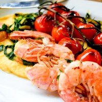 Garlic Prawns & Blistered Tomatoes