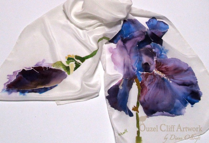 Purple Irises Hand Painted Silk Scarf