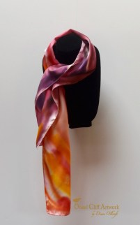 Orange and Plum Hand Painted Silk