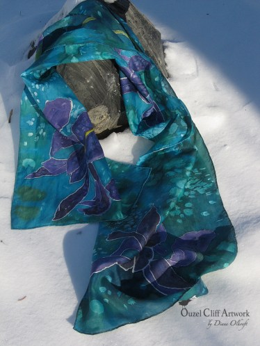 Irises Hand Painted Silk Scarf