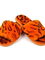 Меховые тапочки с открытым носом, оранжевые тирг