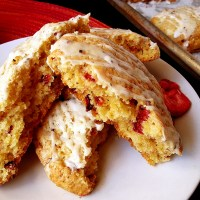 strawberry scones with cornmeal + black pepper