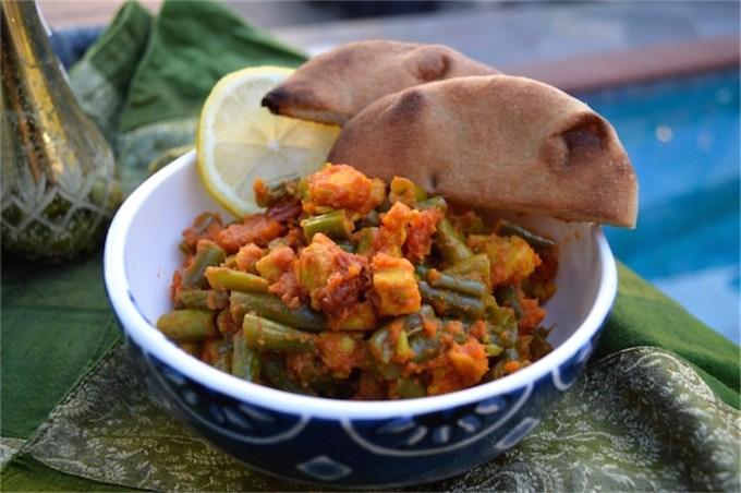 green beans, chicken, naan, healthy, dinenr