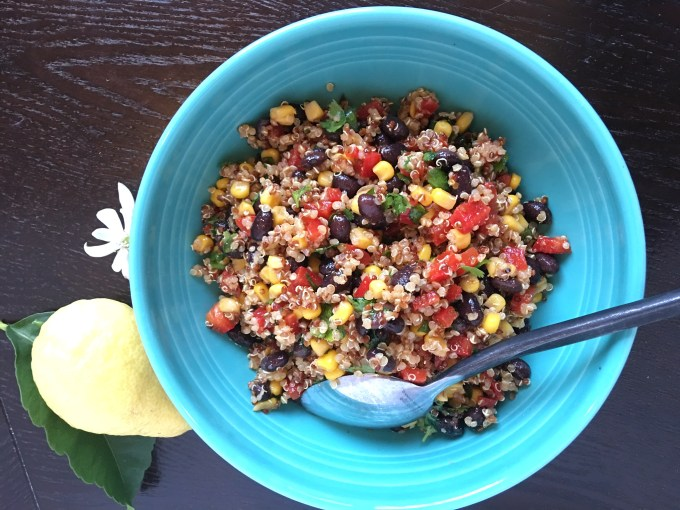 quinoa, salad, southwest, Mexican, beans, corn, bell pepper, spices, chili