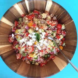 quinoa, salad, side, healthy, gluten-free, tomato, cucumber, Greek