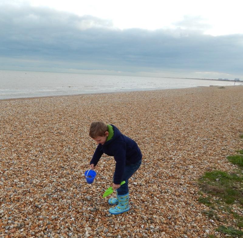 Fun on a pebble beach