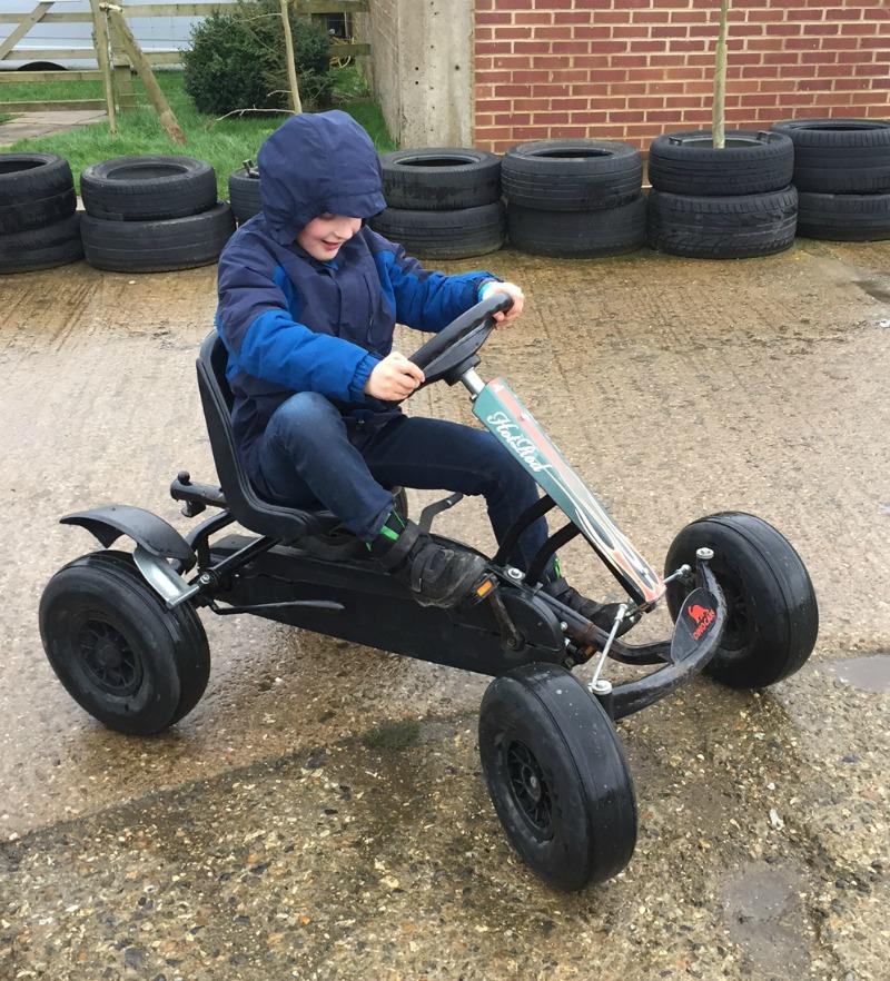 Monkey got on a go-kart