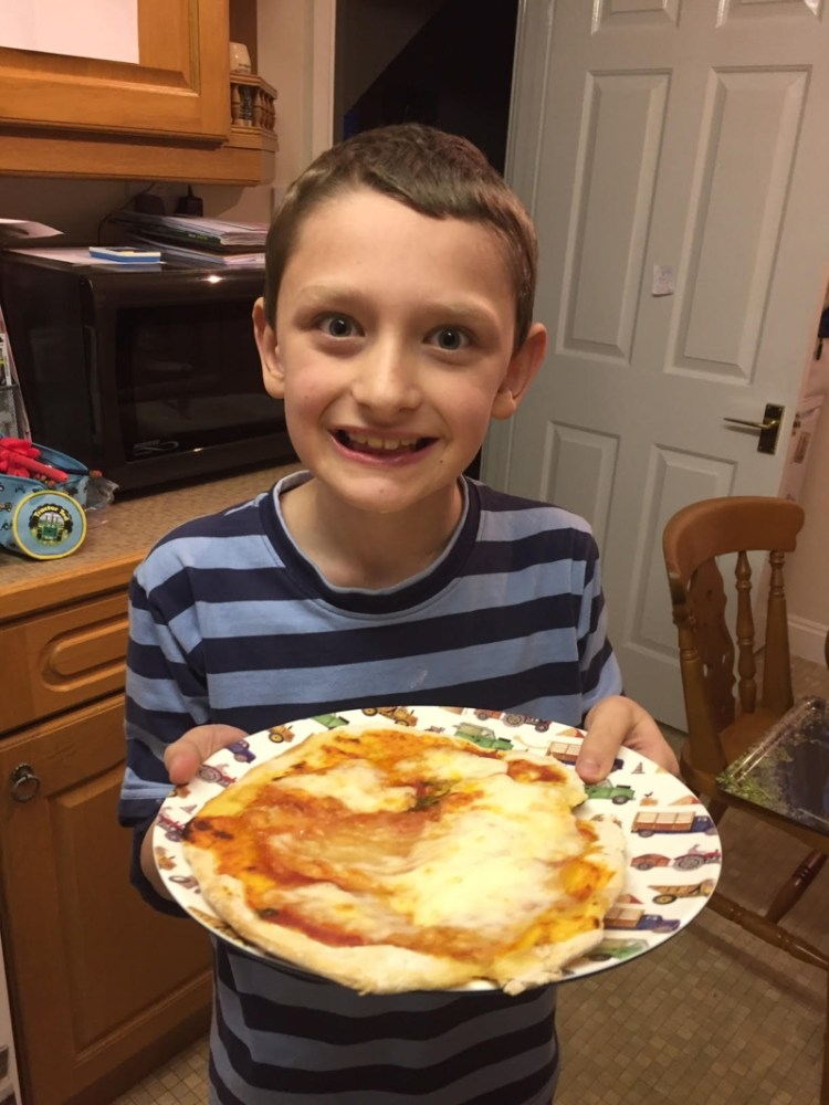 Making pizza from scratch with my son
