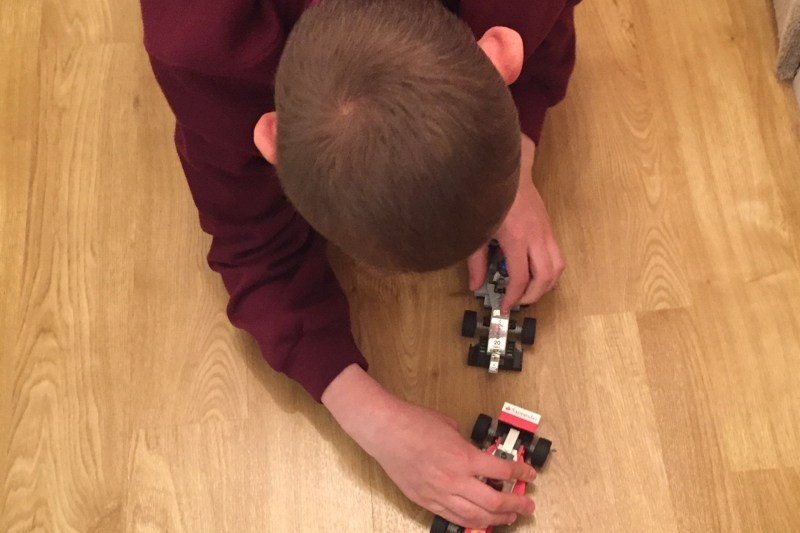 playing with Lego F1 cars