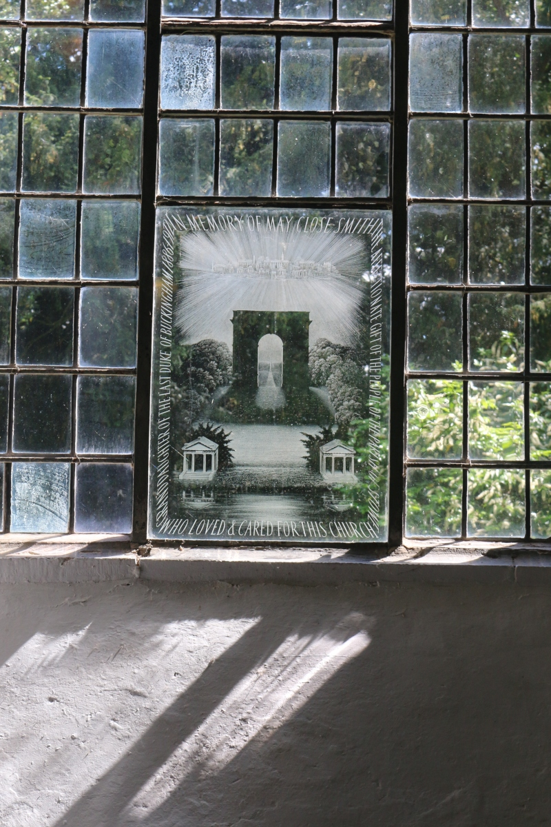 etched glass inside Stowe church