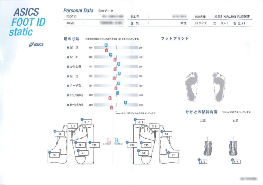 アシックスフラッグシップストア原宿 Foot ID 足の三次元測定 測定結果