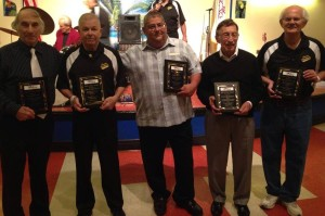 """2015 Hall of Fame Inductees (from L to R) Donnie Reeves,""""Chief"""" John Hicks, Ralph Rubeo, Jimmy """"Buck"""" Buchakjian, Carmen Vitanza Sr, (not pictured) Henry Dunaway"""