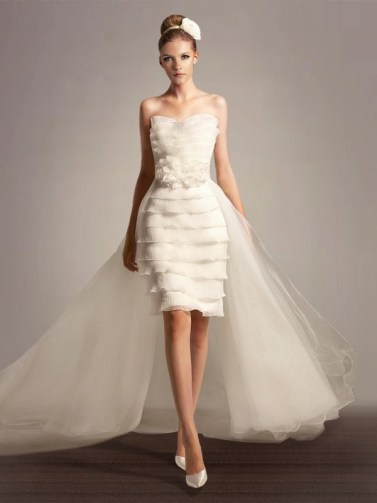 Unique-Sheath-Column-Strapless-Tiered-Flower-Short-Length-Unusual-Wedding-Dress-with-Removable-Train-Under-200
