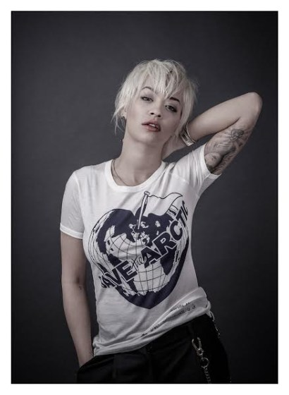 Rita Ora models a Vivienne Westwood-designed t-shirt for the Save the Arctic collection, shot by celebrity photographer Andy Gotts MBE.