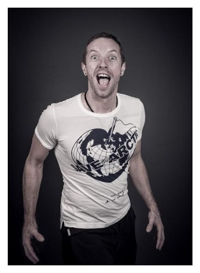 Chris Martin models a Vivienne Westwood-designed t-shirt for the Save the Arctic collection, shot by celebrity photographer Andy Gotts MBE.