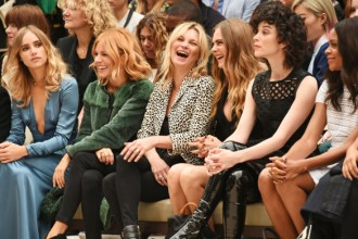 LONDON, ENGLAND - SEPTEMBER 21:  (L to R) Suki Waterhouse, Sienna Miller, Kate Moss, Cara Delevingne, St Vincent and Naomie Harris attend the Burberry Womenswear Spring/Summer 2016 show during London Fashion Week at Kensington Gardens on September 21, 2015 in London, England.  (Photo by David M. Benett/Dave Benett/Getty Images for Burberry) *** Local Caption *** Suki Waterhouse;Sienna Miller;Kate Moss;Cara Delevingne;St Vincent;Naomie Harris