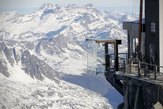 View of the 'Step into the Void' installation at the Aiguille du Midi mountain peak above Chamonix, in the French Alps