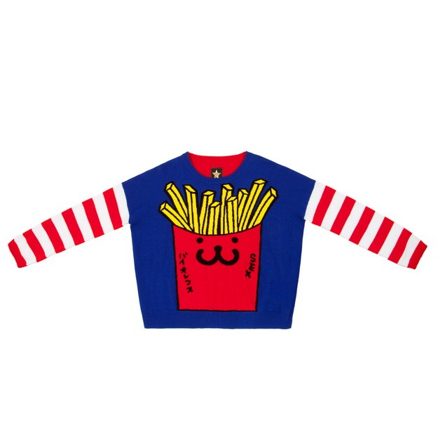 HYOMA SP14 Stripe Sleeves Big Fries Color Blocking Knit $779