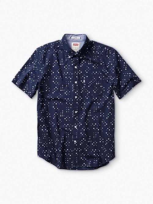 藍底白點潮流短襯衫