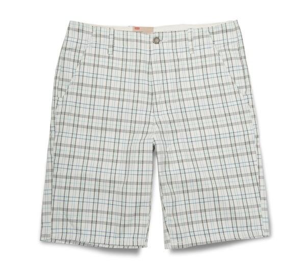 淺色細格紋休閒短褲