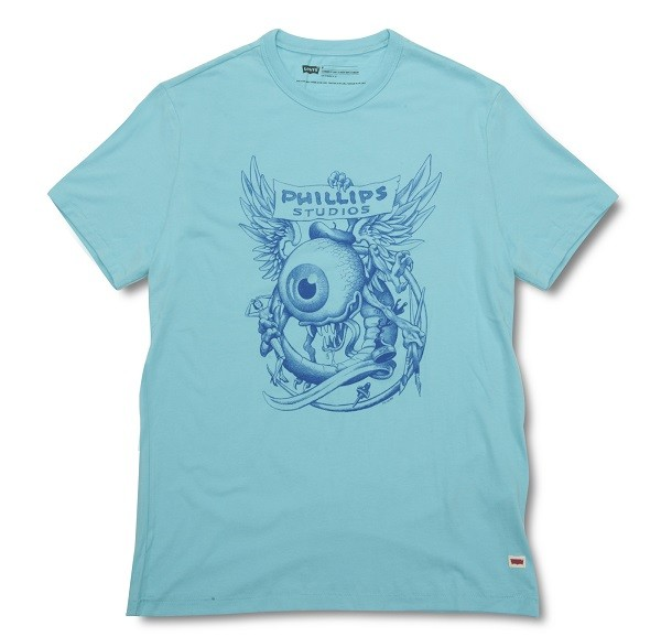 LEVI'S X Jim Phillips 聯名系列_亮藍色圖案短T