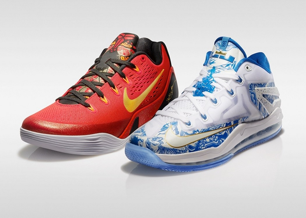 "為了迎接LeBron James、Kobe Bryant 的2014""打出名堂""籃球行,Nike籃球特別推出中國版Max LeBron XI Low China Pack與Kobe IX China Pack"