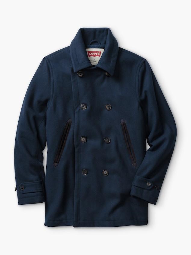 深藍色雙排釦外套