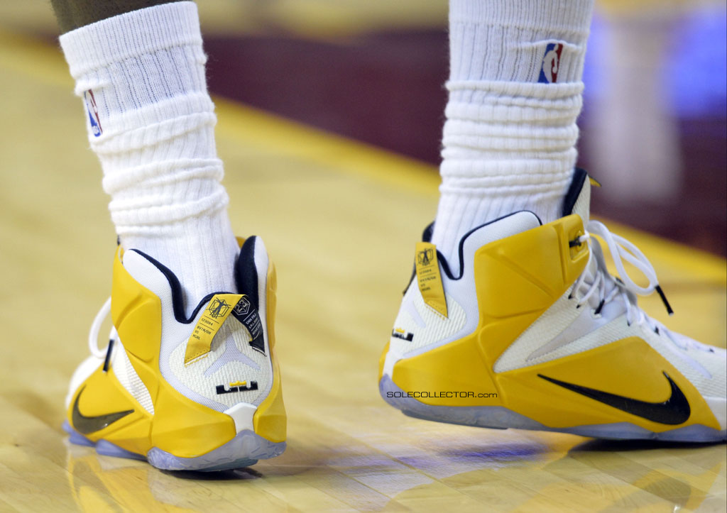 Nov 19, 2014; Cleveland, OH, USA; The shoes of Cleveland Cavaliers forward LeBron James (23) against the San Antonio Spurs at Quicken Loans Arena. The Spurs won 92-90. Mandatory Credit: David Richard-USA TODAY Sports