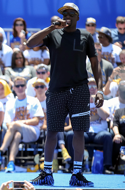 Jun 19, 2015; Oakland, CA, USA; Golden State Warriors forward Draymond Green (23) speaks during the Golden State Warriors 2015 championship celebration at the Henry J. Kaiser Convention Center. Mandatory Credit: Kelley L Cox-USA TODAY Sports