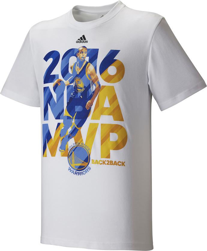 為紀念金州勇士隊控球後衛 Stephen Curry今年NBA賽季再奪MVP,adidas發表Curry專屬T恤向其致敬,售價NT$1,190