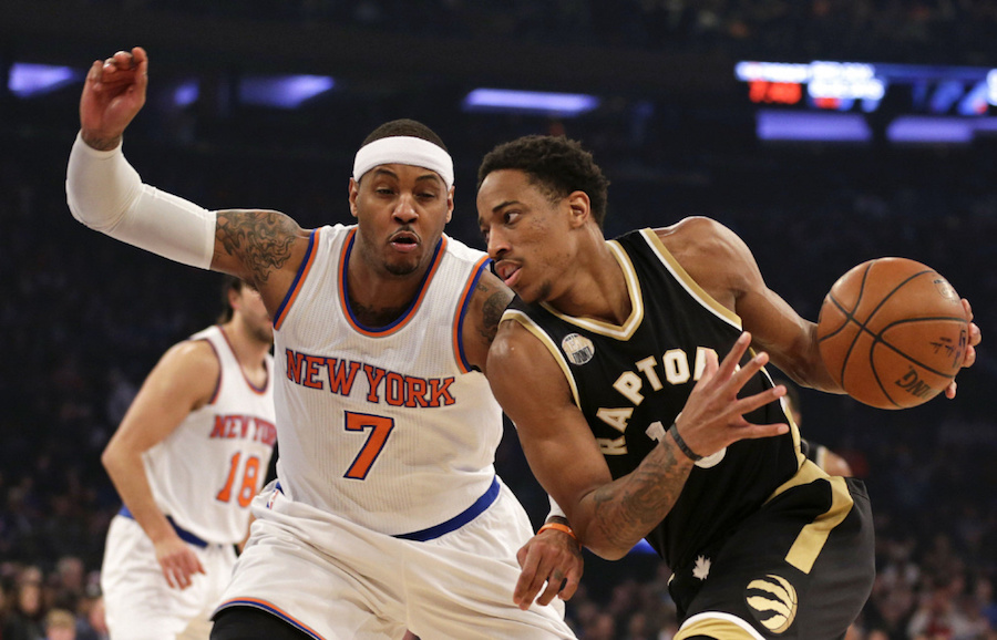 Apr 10, 2016; New York, NY, USA; Toronto Raptors guard DeMar DeRozan (10) drives to the basket past New York Knicks forward Carmelo Anthony (7) during the first half at Madison Square Garden. Mandatory Credit: Adam Hunger-USA TODAY Sports