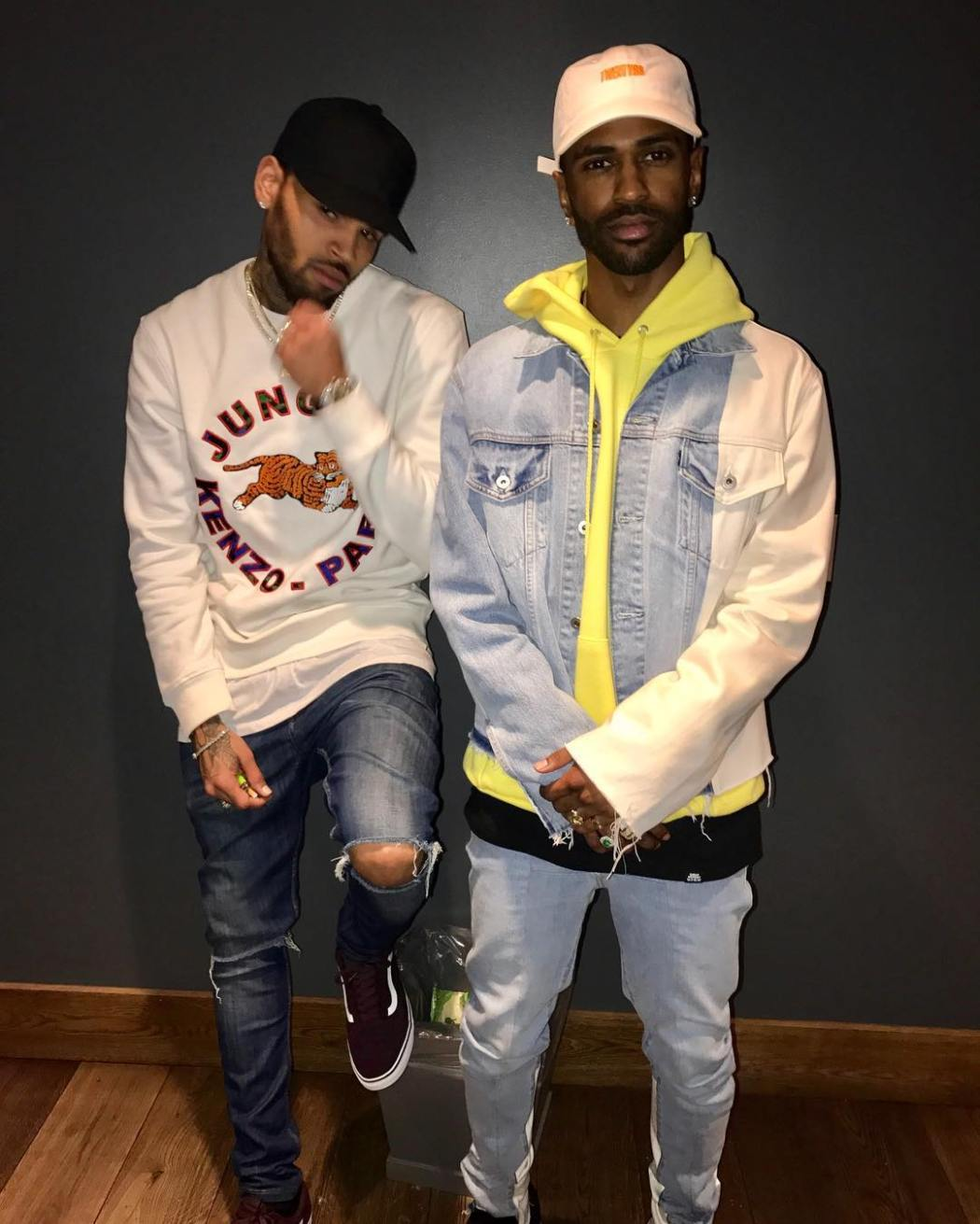 big-sean-off-white-levis-jacket-chris-brown-kenzo-hm-shirt-vans-sneakers
