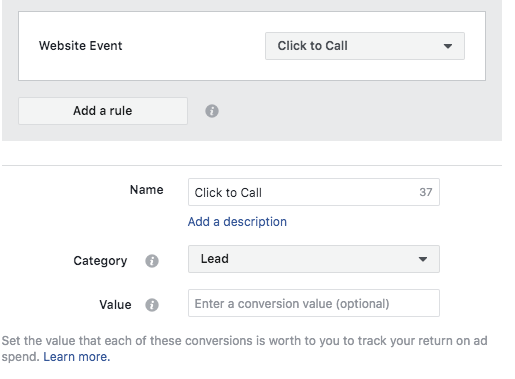 Click to Call Custom Conversion Facebook